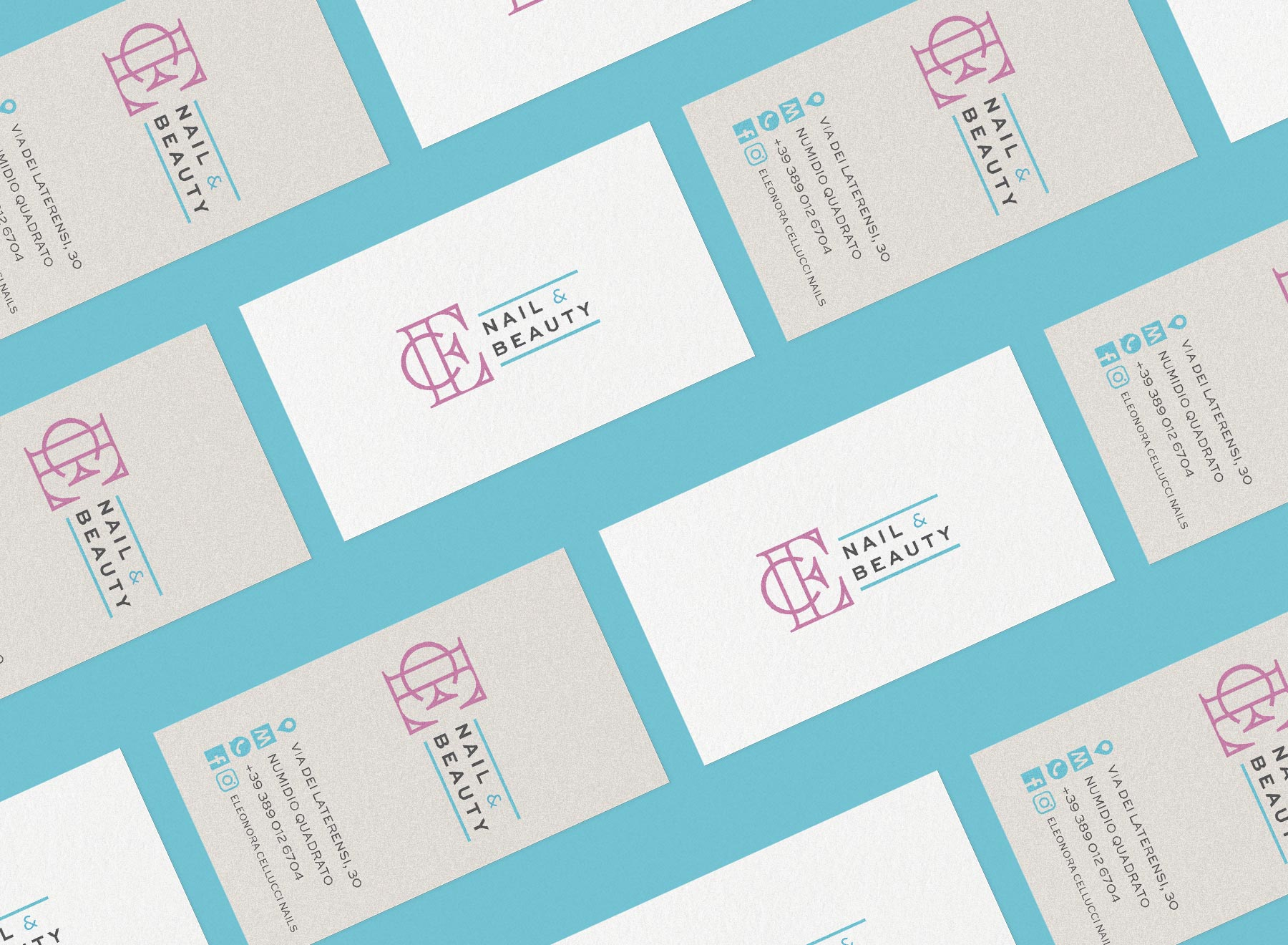 Business card isometric su sfondo celeste