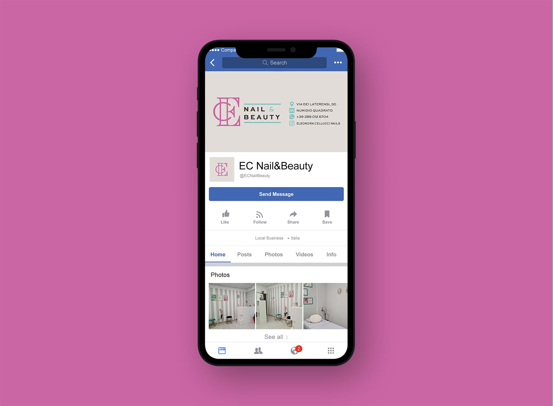 Mockup di Iphone con social Instagram su sfondo rosa